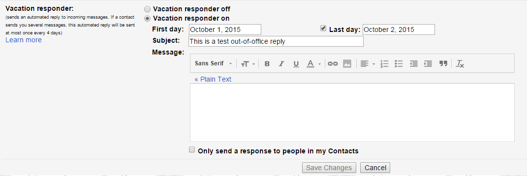gmail out of office settings