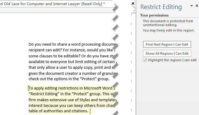 Restrictions And Permissions Settings For Editing A Microsoft Word